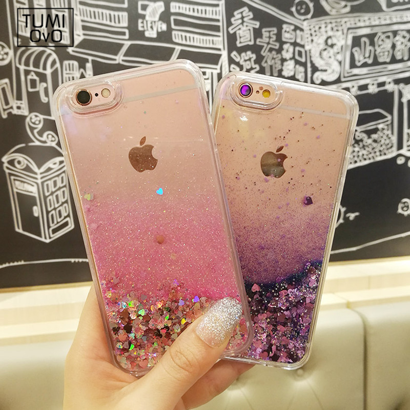New Loves Heart Glitter Stars Dynamic Liquid Quicksand Soft TPU ტელეფონის უკანა ყურის ყუთი iPhone 6 6S 6Plus 7 7 Plus 5 5S 5SE