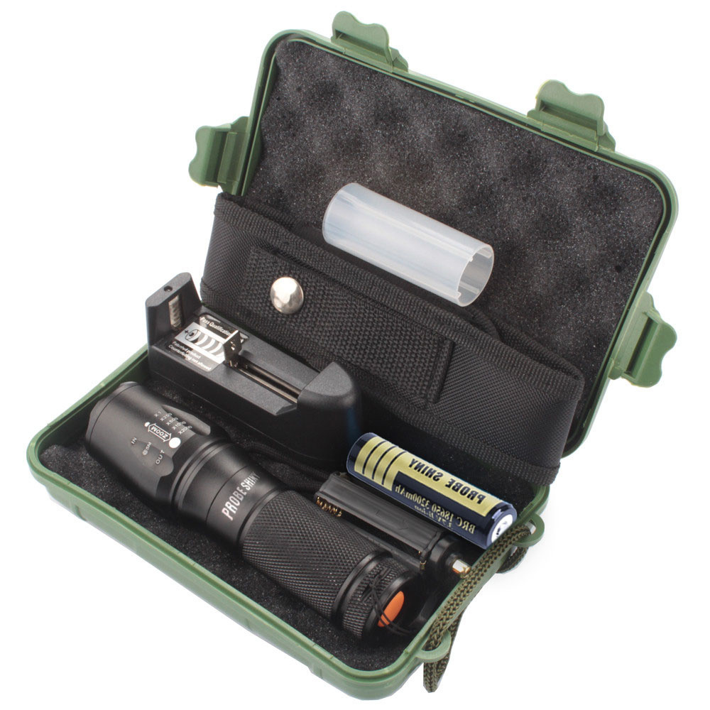 X800 Zoomable XML T6 LED Tactical Flashlight+18650 Battery+Charger+Case Bright Bike Light  Waterproof Flashlight #LR2