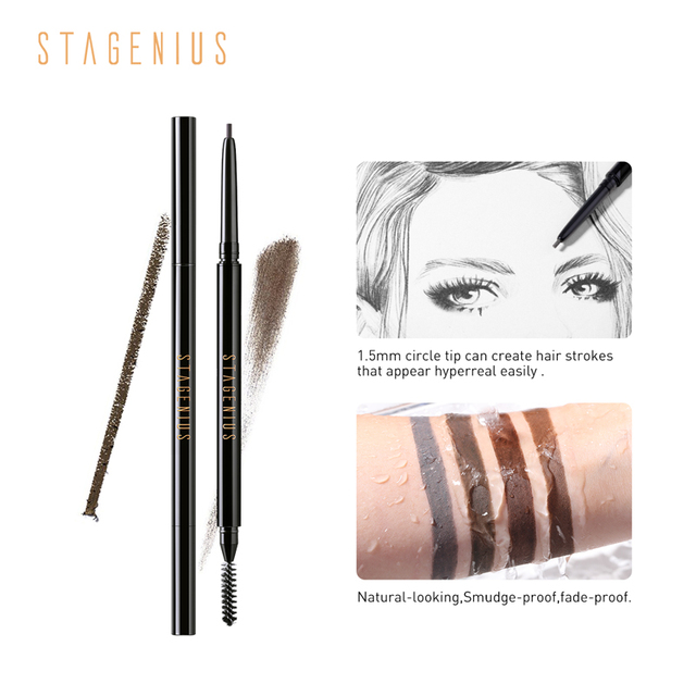 STAGENIUS Eyebrow Pencil Tint Eye Makeup Round Head Long Lasting Waterproof Natural Microblading Eyebrow Pencil Gray Brown 1