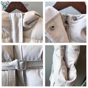 Image 4 - HXJJP Women Vest Winter Jacket Pocket Hooded Coat Warm Casual Cotton Padded Vest Female Slim Sleeveless Waistcoat Belt In Stock