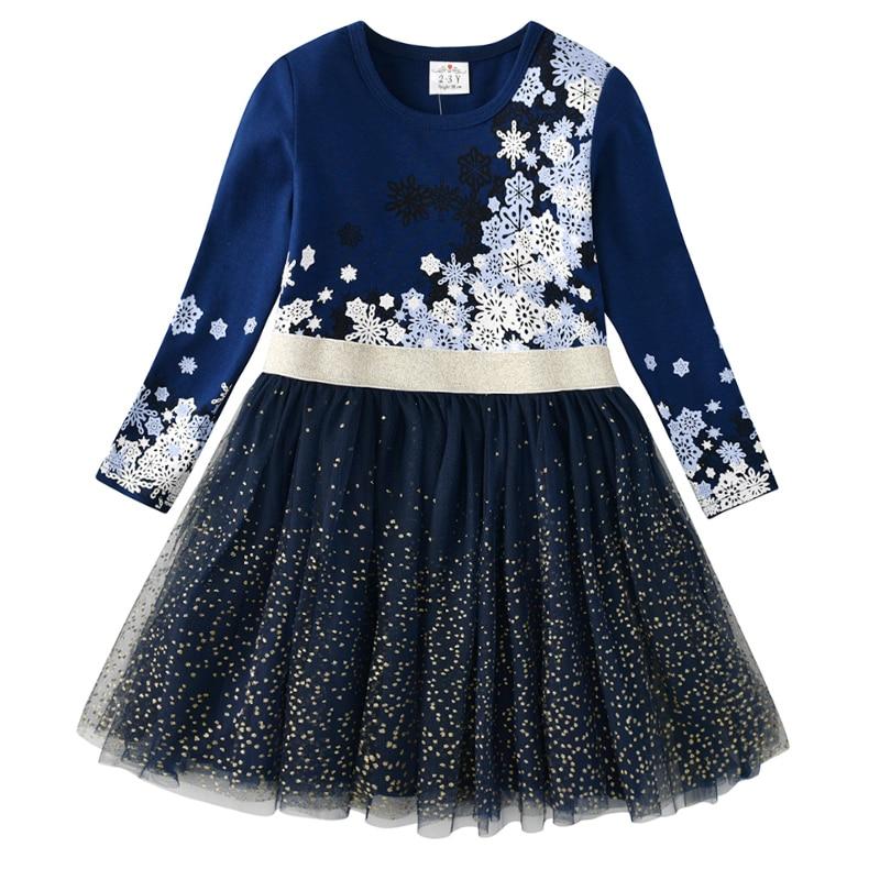 VIKITA Kids Long Sleeve Dresses for Girls Party Dress Star Printed Birthday Tutu Dresses Children Casual Wear Princess Vestidos 13