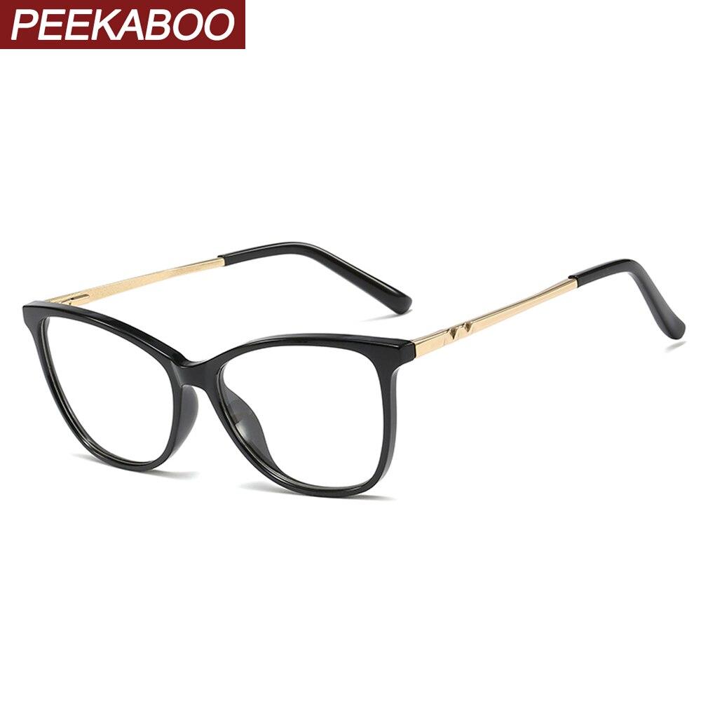 Peekaboo Women Prescription Glasses Optical Frames Tr90 Half Metal Cat Eye Glasses Frames For Women Spring Hinge Blue Green