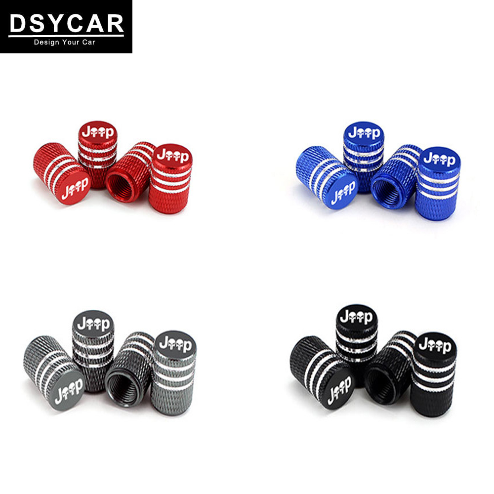 4Pcs/Set Skull Jeep Tire Stem Valve Caps Aluminum Car Dustproof Caps Tire Wheel Stem Air Valve Caps