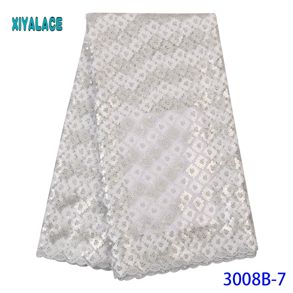 Silver African Lace Fabric Latest 2019 High Quality Lace French Lace Fabric Bridal Lace For Nigerian Sequins Dress YA3008B-7