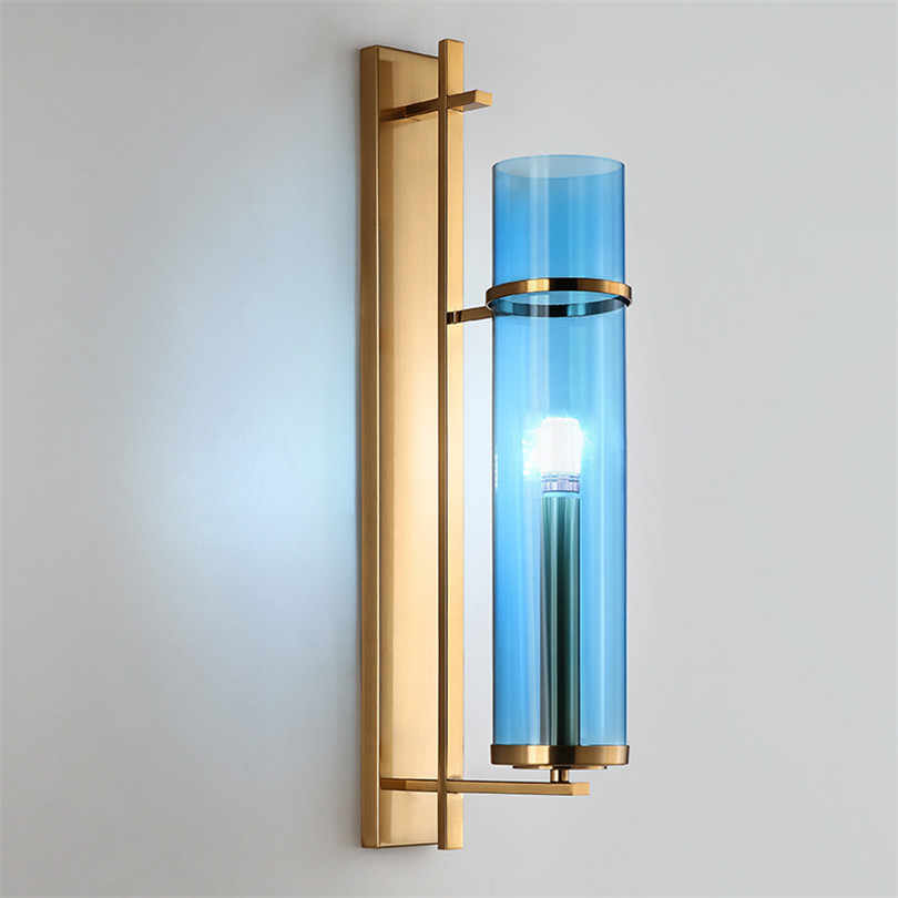 Nordic Luxury Ins Hot LED Wall Lights Blue Glass Lampshade Wall Sconce Lamp Decortive Bedside Lamp for Living Room Bedroom Light
