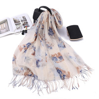 New spring and summer foreign trade export scarf Japanese female female art fan printing cotton and linen scarves small fresh lo