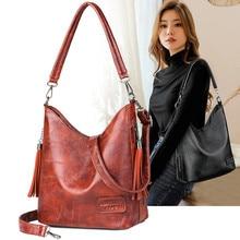 Big Women Bucket Bag Female Shoulder Bags Large Size Vintage Soft Patchwork Leather Lady Cross Body Handbag for Hobos