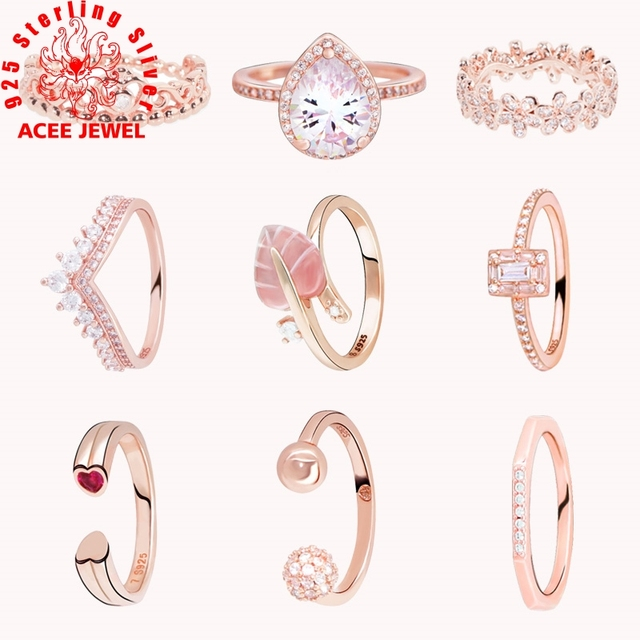 Rose gold 925 Sterling Silver Princess Tiara Crown Sparkling Love Heart CZ Rings Women Engagement Jewelry Anniversary gift