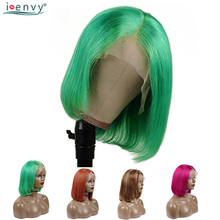 13X4 Red Lace Front Human Hair Wigs Pre Plucked Orange Green Short Bob Peruvian Straight Black Women Remy