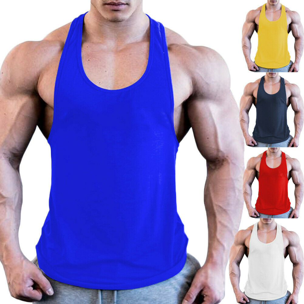 Men Bodybuilding Running T-Shirts Sports Tops Fitness Gym Workout Sports Vest Shirt Clothes