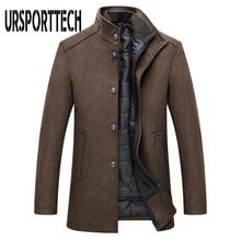 Winter Warm Wool Blend Coat Men Thick Overcoats Topcoat Mens Single Breasted Jackets And Coats With Adjustable Vest Men's Coat