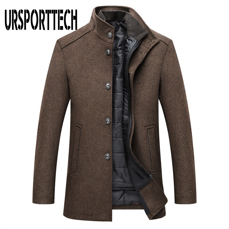 Winter Warm Wool Blend Coat Men Thick Overcoats Topcoat Mens Single Breasted Jackets And Coats With Adjustable Vest Men's Coat