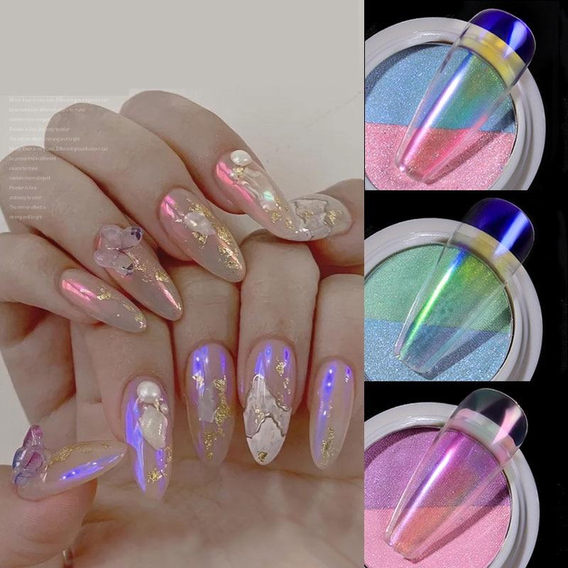 Caixa Holográfica 1 Duplo Cores Neon Nail Glitter Pó De Fadas Aurora Sereia Mágica Poeira Espelho Dois-cor Das Unhas Sólida arte Pigmento