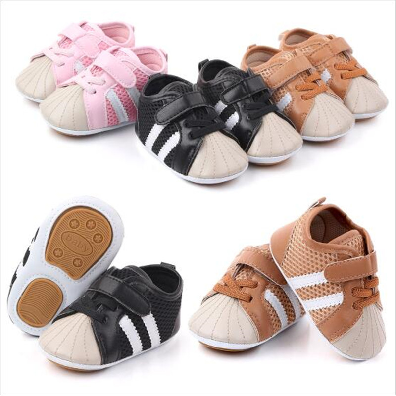 New PU Baby Shoes Classic Sports Sneakers Newborn Boys Girls First Walkers Infant  Shoes Toddler Soft Sole Shoes