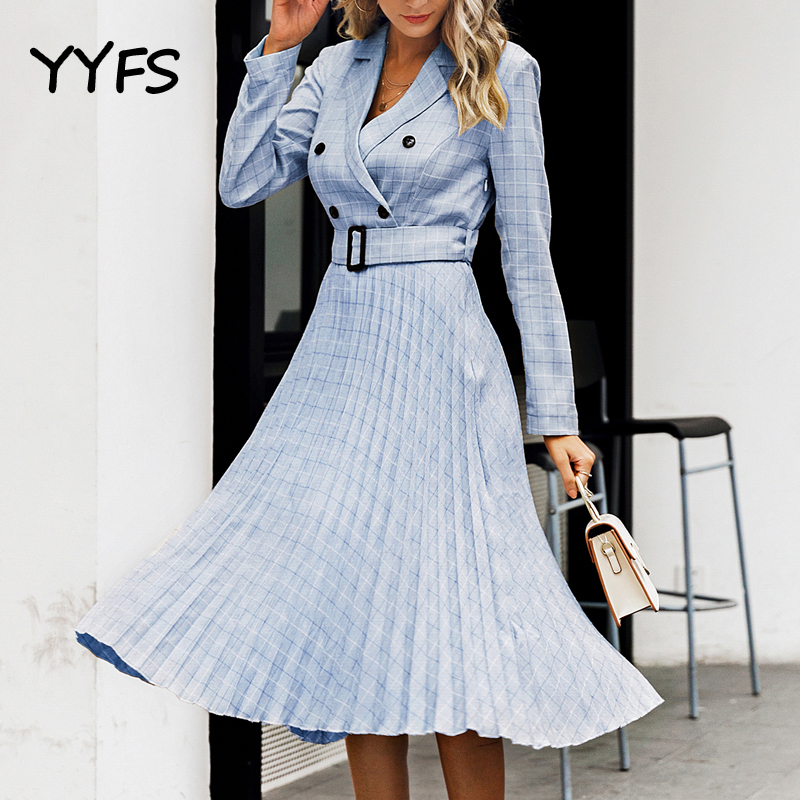 Double Breasted Office Suit Dress Women Elegant A Line Sashes Plaid Blazer Dresses Female Long Sleeve Pleated Ladies Vestidos