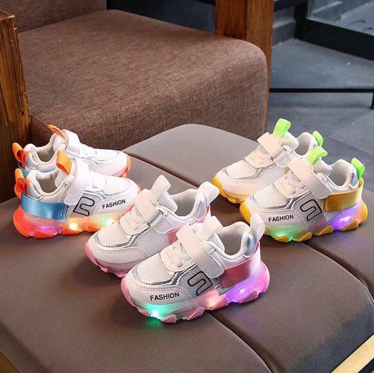 9.62US $ 22% OFF 2020 Children LED Light Shoes Baby Girls Boys Letter Mesh Sport Run Sneakers Shoes ...