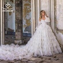 Swanskirt aplikler düğün elbisesi 2020 sevgiliye 2 In 1 kollu balo dantelli tül prenses F324 gelin Vestido de novia