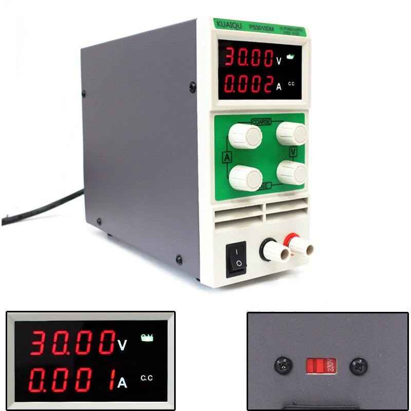 KUAIQU мини PS3010DM DC источник питания импульсный лабораторный Цифровой регулируемый 4 четырехзначный 0-30 в 0-10A малый объем