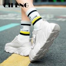 رائجة البيع حذاء كاجوال امرأة الربيع السيدات أحذية بيضاء أحذية منصة أحذية الصيف الأسود الإناث أحذية كورية Zapatos دي موهير