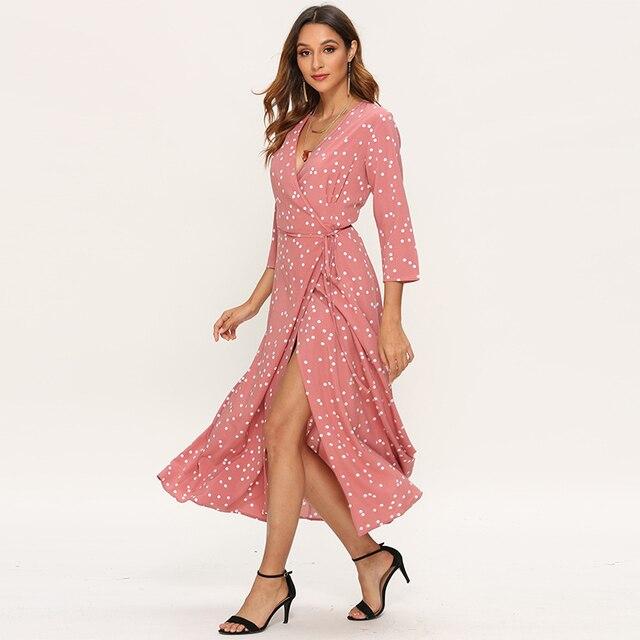 Women Polka Dot Long Dress Boho Sexy V Neck Split Maxi Party Dress Elegant Three Quarter Sleeve Casual Bandage Wrap Dresses 5