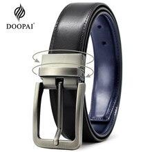 DOOPAI-Cinturón de cuero Reversible giratorio para hombre, cinturón masculino de lujo con hebilla de Pin, correa de jeans, cinturones casuales de vaquero