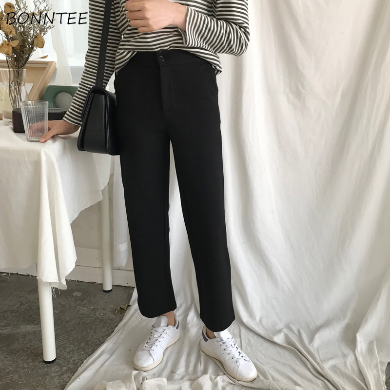 Pants Women Ankle-Length All-match Simple Leisure Solid Trousers Women Pockets Trendy Zipper Korean Style Elegant Wide Leg Chic
