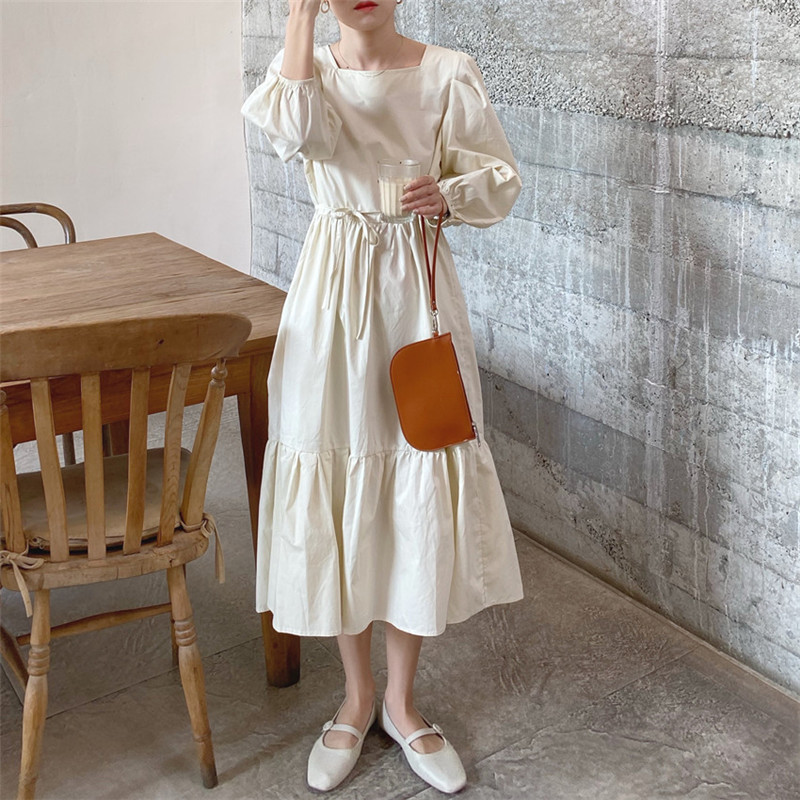 H29ecc9bcb39a458ea8ea666d43dde97bo - Spring / Autumn Square Collar Long Lantern Sleeves Loose Solid Midi Dress