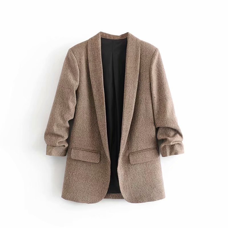 Elegant Coat Women Autumn Winter Long Sleeve Office Coat Cardigans Suit Ladies Fashion Solid Twill Pockets Jacket For Women