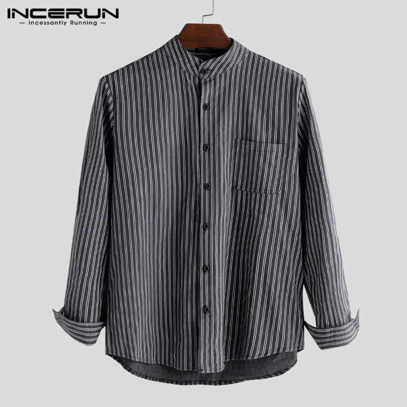 INCERUN Men Striped Shirt Simple Long Sleeve Chemise Button Harajuku Stand Collar Chic Casual Loose Brand Shirts Men S-5XL 2020