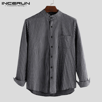INCERUN Men Striped Shirt Simple Long Sleeve Chemise Button Harajuku Stand Collar Chic Casual Loose Brand Shirts Men S-5XL 2020 incerun men shirt long sleeve striped patchwork lapel collar chic casual shirts men button breathable camisas hombre 2020 s 5xl