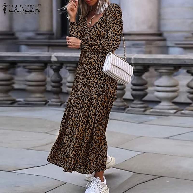 2019 Autumn Long Sleeve Dress ZANZEA Women Leopard Long Maxi Dress Ladies Sexy V Neck High Split Ruffles Vestidos Robe Femme 5XL
