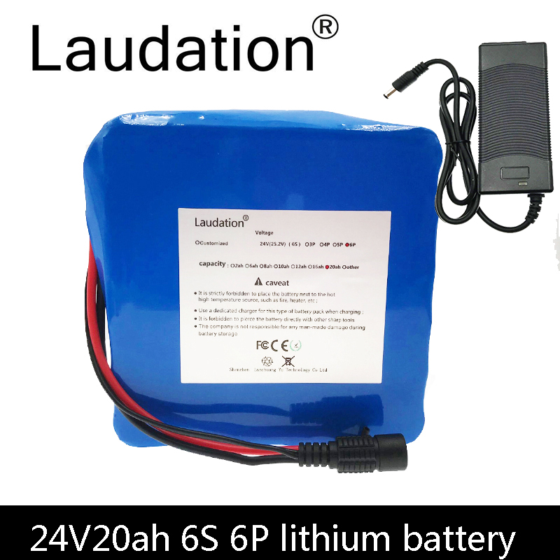 Laudation 24V 20ah Bicycle Battery 24V 25.2V 19200MAH Lithium-Ion rechargeable battery 6S 6P 350W E Bicycle 250W With 2A charger