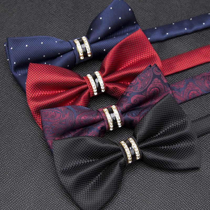 Men Luxurious Bowtie Groom Mens Striped Plaid Cravat Gravata Fashion Butterfly Wedding Bow Ties For Male Accessories Gifts Tie