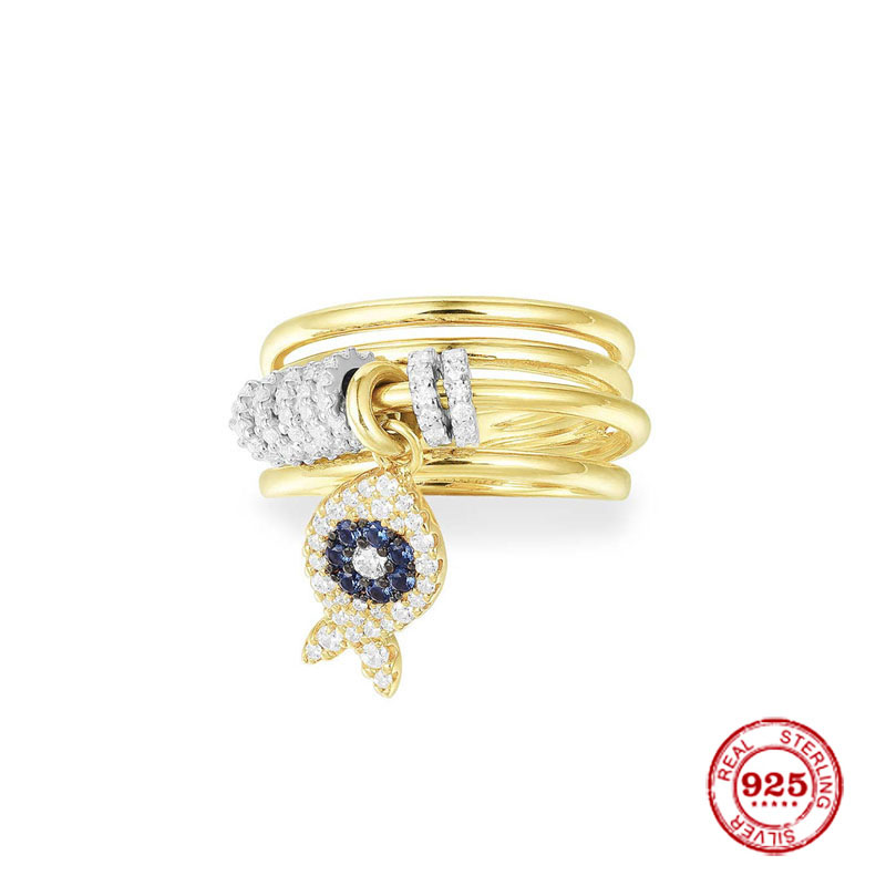 Breloque de mode plaqué argent copie 1:1 réplique, jaune Multi anneaux avec cerceaux coulissants et poisson femmes Monaco bijoux cadeau
