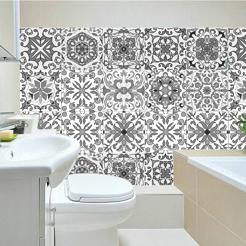 spanish moroccan mosaic wall tile self adhesive backsplash kitchen bathroom wall decal grey sticker h1112
