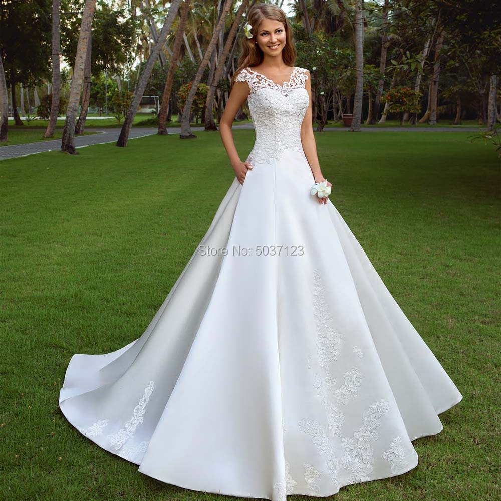 A Line Cap Sleeves Wedding Dresses Vestido De Noiva Sleeveless V Neck Open Back Wedding Bridal Gowns Court Train