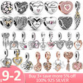 Hot Sale 925 Sterling Silver Love Forever Heart Dangle Charms Beads fit Original Pandora Bracelet Necklace Silver 925 Jewelry