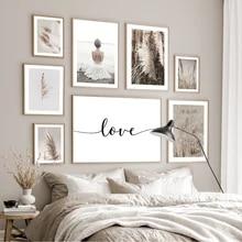 Selvagem boho planta bege reed trigo nórdico posters e cópias da arte da parede quadros parede lona para sala de estar decoração casa
