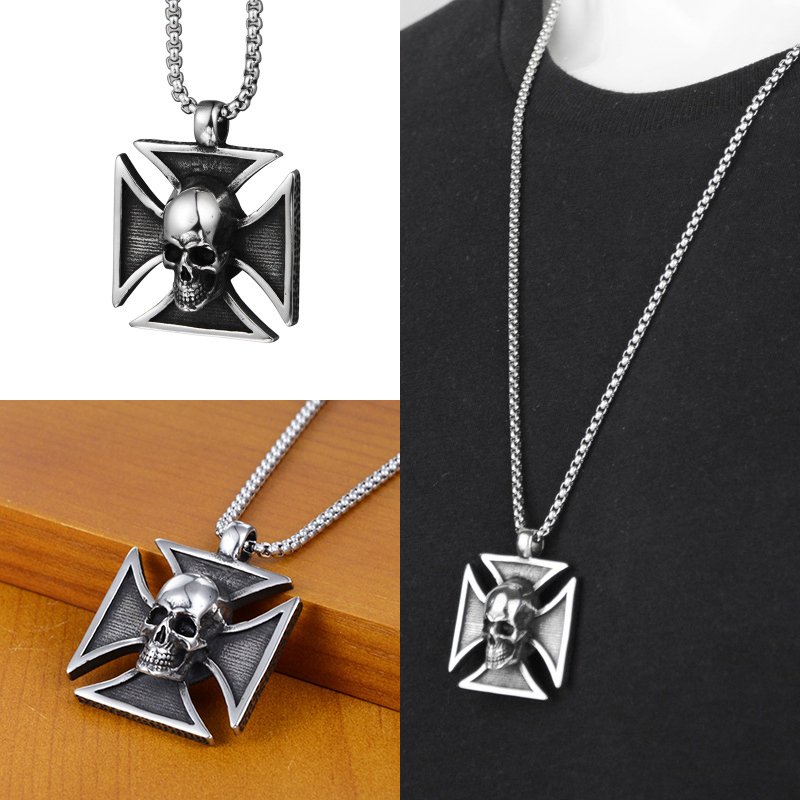 Hip Hop Skeleton Cross Pendant Necklaces Stainless Steel Fashion Jewelry Shape Necklace Men