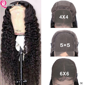 6x6 Transparent Lace Closure Wig 30 Inch Deep Wave Lace Closure Human Hair Wigs Pre Plucked 5x5 4x4 Peruvian Lace Wigs Remy 150%