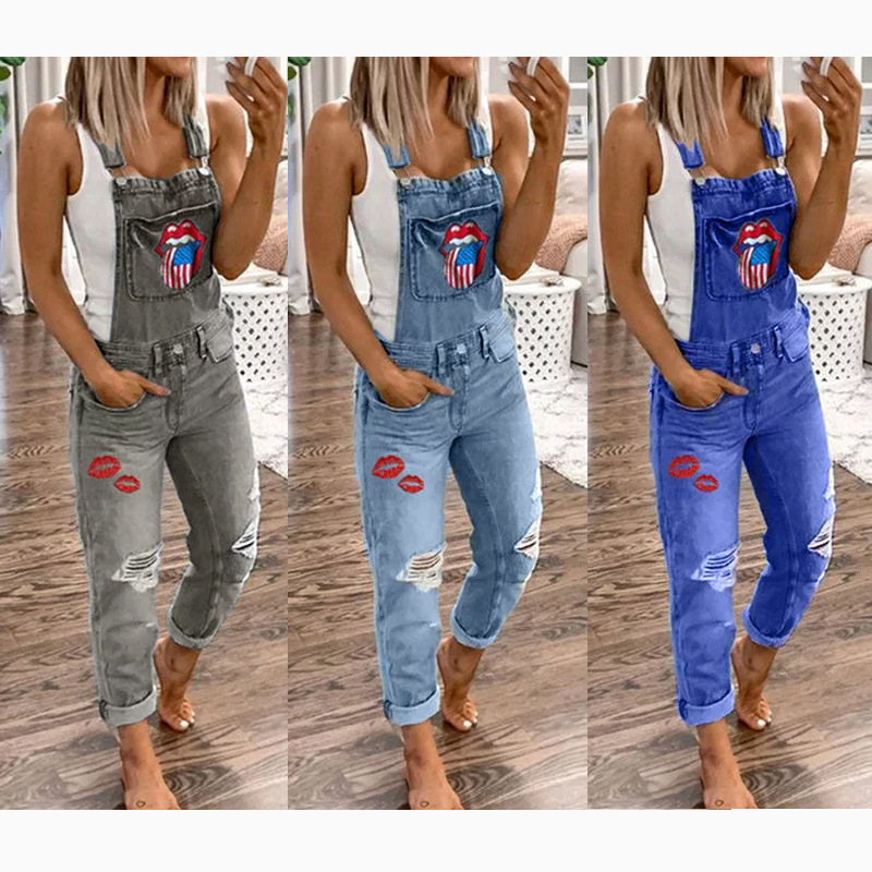 Women Elegant Hole Denim Jumpsuit Romper Long Trousers Overalls Straps Jumpsuit S-5XL Ladies Casual Loose Plus Size Jumpsuits