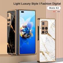 Oryginalny pokrowiec GKK do Huawei Mate X2 5G luksusowy wzór szkło hartowane krawędź odporna na wstrząsy twarda obudowa do Huawei Mate X2