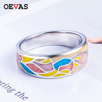 Fashion brand 925 Sterling silver Epoxy color matching Enamel rings for women size 5 10 S925 Silver Wedding Engagement jewelry