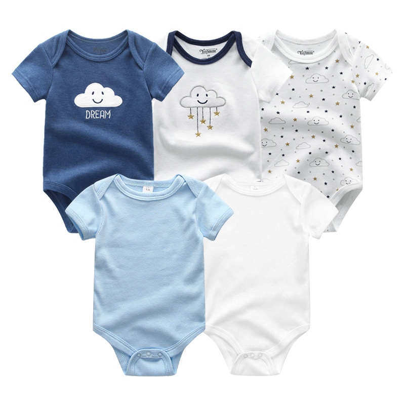 2021 Unisex 5PCS Baby Girl Clothes Cotton Bodysuits Newborn Baby Boy Clothes Cartoon Print Girls Baby Clothing Ropa Bebe 3