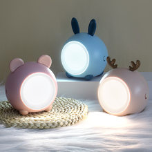 Cute LED Night Lights Touch Stepless Dimming Bedroom Sleep Bedside Lamp USB Charging Eye-protect Desk Lamp Child Christmas Gift