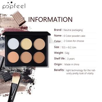 POPFEEL 5/6 Colors Oil-Control Facial Pressed Powder Powder Blusher Shadow Repair Brighten Concealer Foundations Makeup Powder