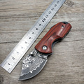 Dropshipping mini camping knife Damascus steel blade pocket folding knife Wood Handle outdoor survival knife Utility knife