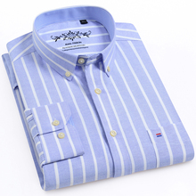 للرجال أكسفورد الاختيار أكمام طويلة منقوشة قميص التصحيح الصدر جيب منتظم صالح متقلب/مخطط مطبوعة زر عادية أسفل القمصان