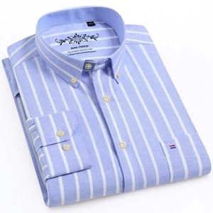 Image 1 - Herren Oxford Langarm Überprüfen Plaid Shirt Patch Brust Tasche Regelmäßige fit Checkered/Striped Printed Casual Taste unten Shirts