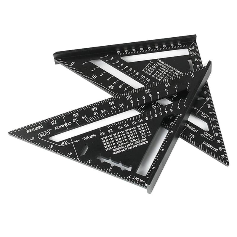 7/12inch 삼각형 광장 눈금자 각도 각도기 알루미늄 합금 프레임 건물 목수 목공 측정 도구
